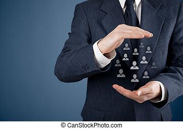 klant, of, werknemers, care, concept