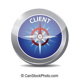 klant, ontwerp, illustratie, kompas