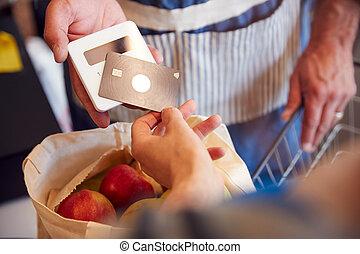 klant, organisch, dichtbegroeid boven, contactless, betaling, kassa, boer winkel, vervaardiging