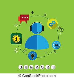 klant, plat, vector, &, steun, contact, ontwerp, diensten, of