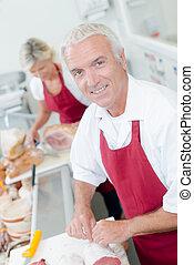 klant, portie, slager, vrouwlijk