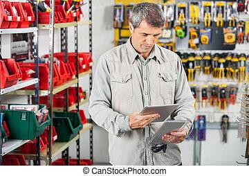 klant, product, tablet, analyzing, digitale , door