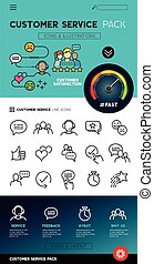 klant, sevice, ontwerp, iconen