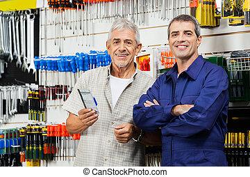 klant, staand, hardware, verkoper, winkel