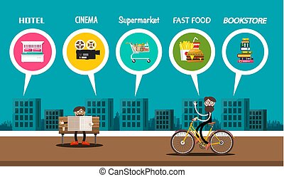 klant, stad, gebouwen, plat, kaart, bioscoop, bezoeker, town., vasten, supermarkt, hotel, voedingsmiddelen, vector, ontwerp, banner., boekhandel, of