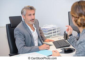 klant, vergadering, kantoor, zakelijk