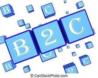 klant, vertegenwoordigt, dobbelsteen, zakelijk, vertolking, klant, b2c, 3d