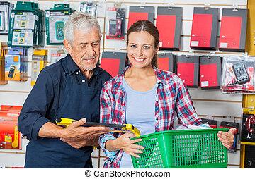 klant, winkel, hardware, arbeider