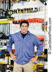 klant, winkel, hardware, heup, handen
