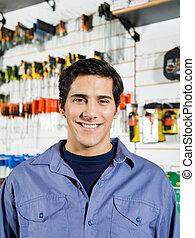 klant, winkel, hardware, mannelijke , het glimlachen