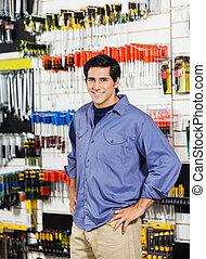 klant, winkel, heup, hardware, handen, het glimlachen