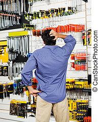 klant, winkel, hoofd, verward, hardware, krassen