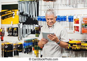 klant, winkel, tablet, hardware, vasthouden, digitale