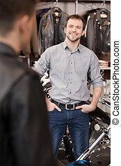klant, winkel, uitvoerend, omzet, jonge, vrolijk, motorfiets, vergadering, customer.