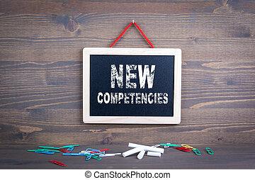 klant, zakelijk, succes, houten, competencies., chalkboard, achtergrond, nieuw, service.