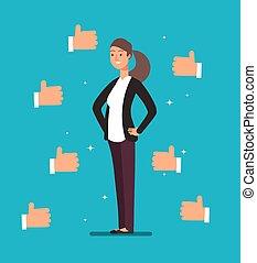 klanten, concept, zakelijk, acknowledgement, businesswoman, trots, op, spotprent, vector, duimen, velen, stemming, leider, hands., vrolijke