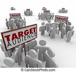 klanten, doel, demo, vooruitzichten, publiek, groepen, ...