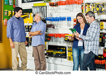klanten, in, hardware winkel