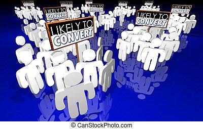 klanten, mensen, bekeren, illustratie, waarschijnlijk, groepen, 3d