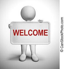 klanten, of, acknowledgement, -, 3d, nieuw, illustratie, welkom teken, hallo