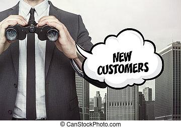 klanten, tekst, verrekijker, toespraak, vasthouden, nieuw, zakenman, bel