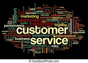 klantenservice/klantendienst, concept, in, woord, wolk