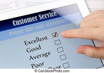 klantenservice/klantendienst, online, onderzoeken; inspecteren;