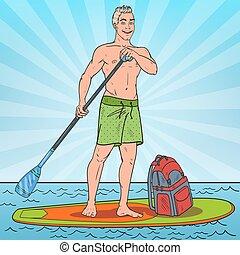 klapen kunst, jonge man, paddling, op, opstaan, peddel, board., sup, watersport, op, de, sea., vector, illustratie