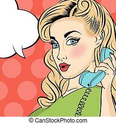 klapen kunst, vrouw, met, retro, telefoon