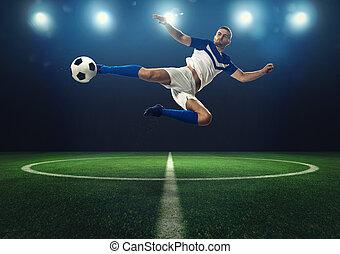 klappen, bal, aanvaller, voetbal, schop, acrobatisch