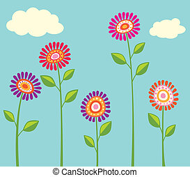klar, blomst, samling