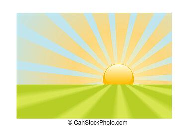klar, gul, solopgang, stråler, skinn på, jord, scene