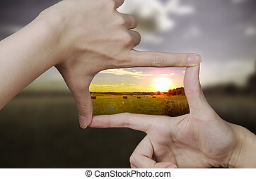 klar, solnedgang, synet