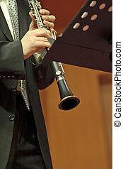 klarinettist, auf, concert