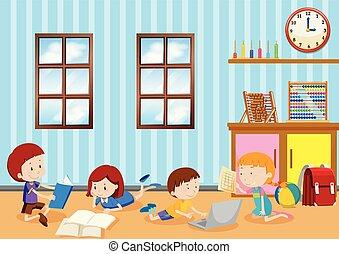 klasa, badając, dzieci