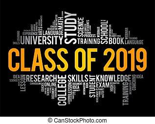 klasa, collage, słowo, pojęcie, chmura, wykształcenie, 2019
