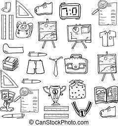 klasa, doodles, szkoła, obiekt, zaopatruje