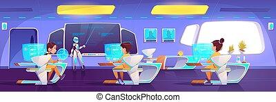 klasa, dzieciaki, futurystyczny, robot, nauczyciel