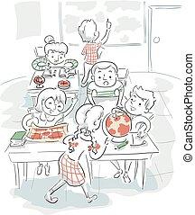 klasa, dzieciaki, geografia ilustracji