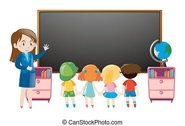 klasa, dzieciaki, nauczyciel