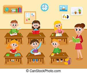 klasa, dzieciaki, szkoła, główny, elementarny, lekcja, nauczyciel