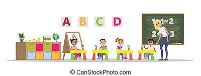 klasa, etiuda, dzieciaki, nauczyciel, preschool