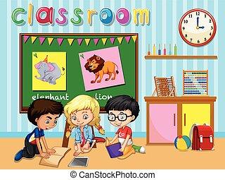 klasa, grupa, dzieci, pracujący