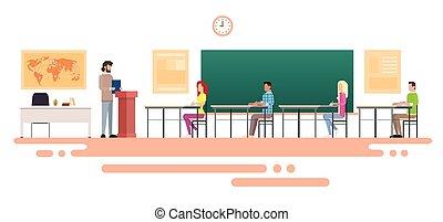 klasa, grupa, handlowy, studenci, uniwersytet, ludzie, ...