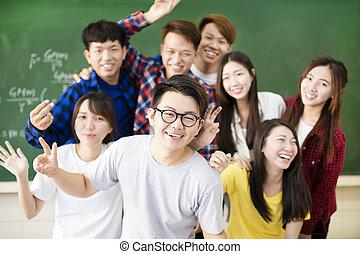 klasa, grupa, młody, kolegium student, szczęśliwy