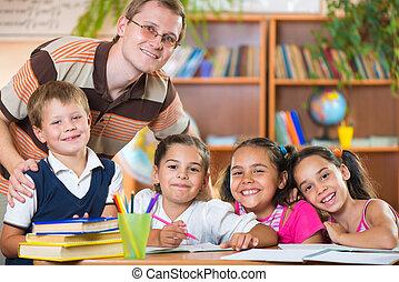 klasa, grupa, uczniowie, nauczyciel
