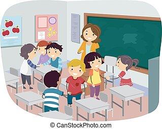 klasa, ilustracja, dzieciaki, wprowadzanie