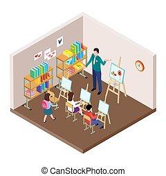 klasa, isometric, dzieciaki, sztuka, illustration., rysunek, wektor, studio, sztaluga, lekcja, nauczyciel, studenci