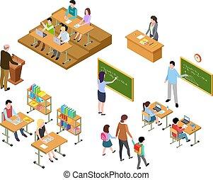 klasa, isometric, pojęcie, school., ludzie, students., jednolity, szkoła dzieci, nauczyciel, wektor, wykształcenie, library., 3d