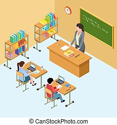 klasa, isometric, szkoła, ilustracja, wysoki, wektor, nauczyciel, kids.